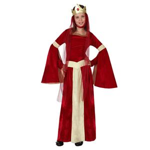 Fato Dama Medieval Vermelho, Criança