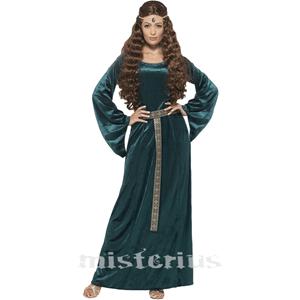Fato Dama Medieval Verde, Adulto
