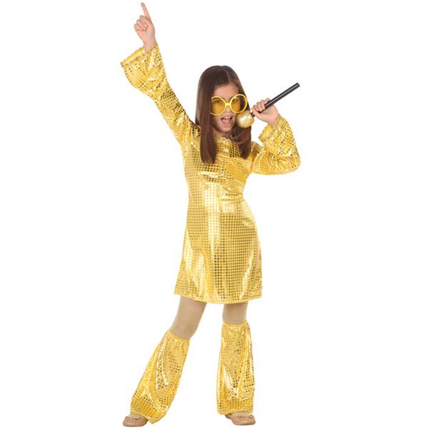 Fato Disco Dourado com Perneiras, Criança