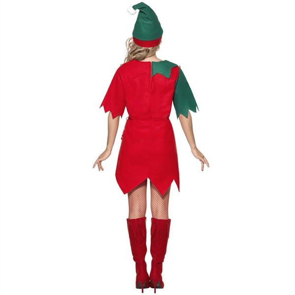 Fato Elfa Ajudante Verde e Vermelho, Adulto