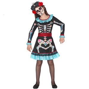Fato Esqueleto Mexicana Menina