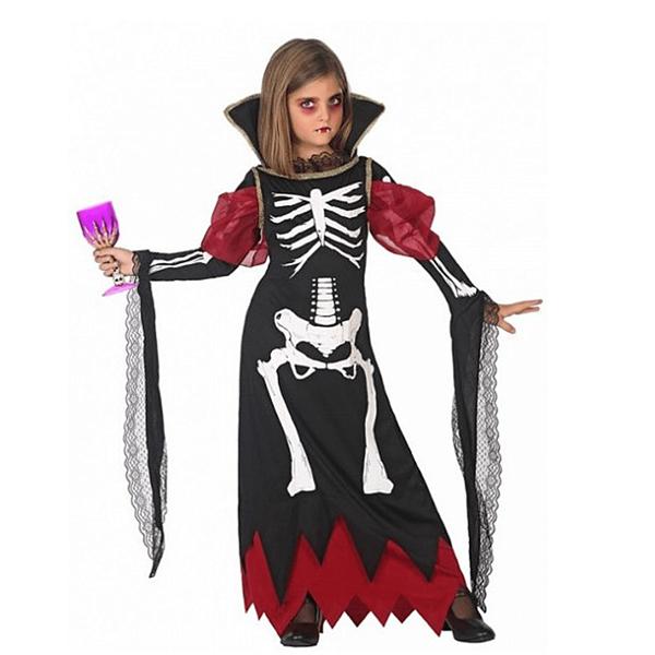 Fato Esqueleto Vampira Menina