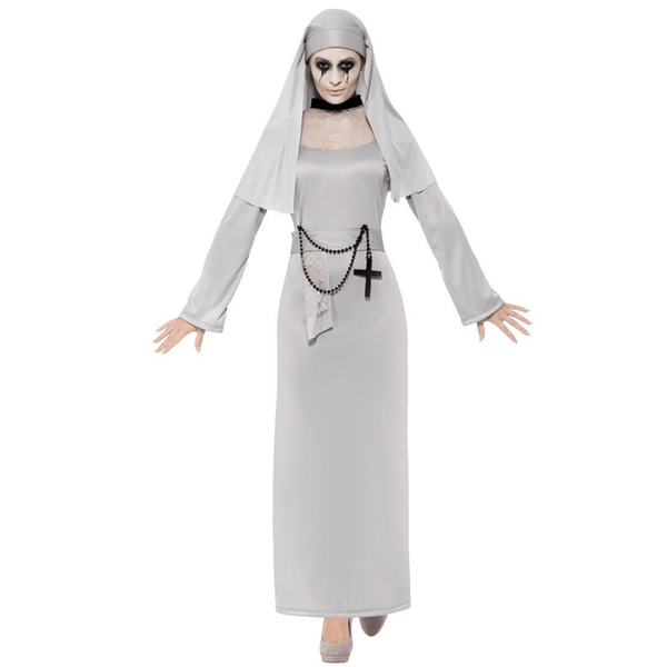 Fato Freira Cinzento com Crucifixo, Adulto