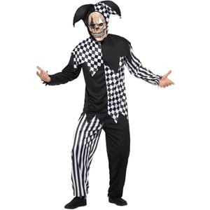 Fato Halloween Arlequim Preto e Branco Deluxe, Adulto
