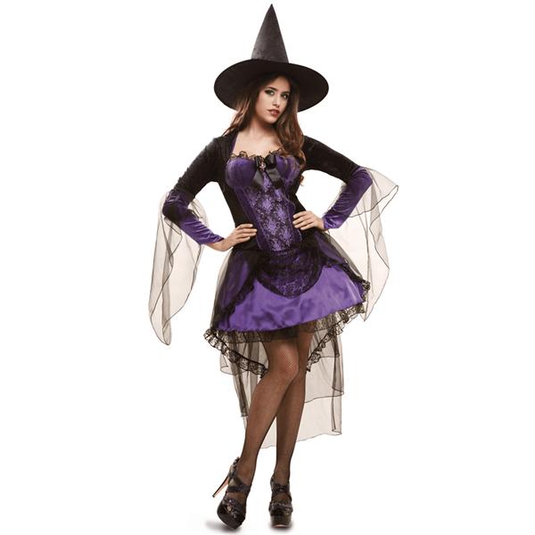 Fato Halloween Bruxa Curto Roxo com Chapéu, Adulto