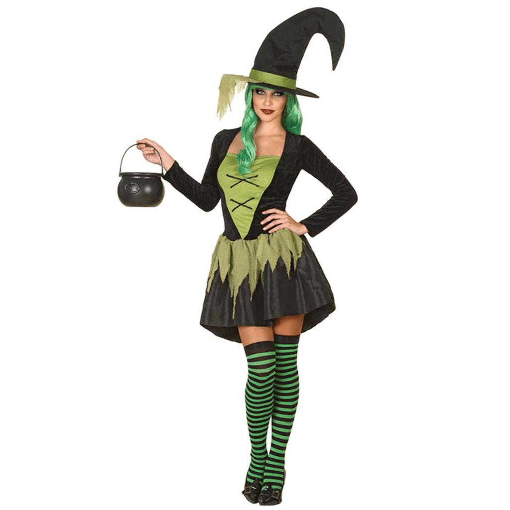 Fato Halloween Bruxa da Floresta Verde, Adulto