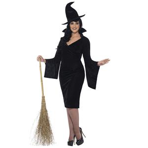 Fato Halloween Bruxa Preto com Chápeu, Adulto