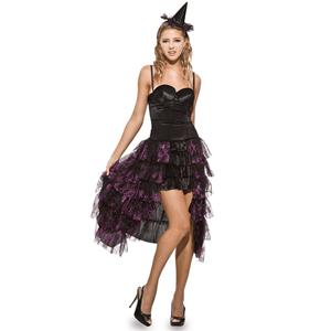 Fato Halloween Bruxa Preto Curto com Chapéu, Adulto