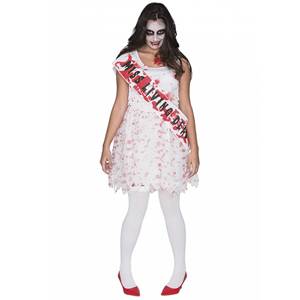 Fato Halloween Miss Zombie Sangrento, Adulto