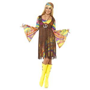Fato Hippie Florido com Colete Castanho, Adulto