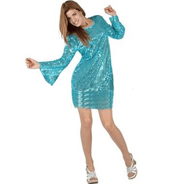 Fato Disco Mulher Brilhante Azul