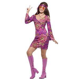 Fato Hippie Rosa Florido com Colar, Adulto