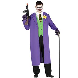 Fato Joker com Gabardina Roxa, Adulto