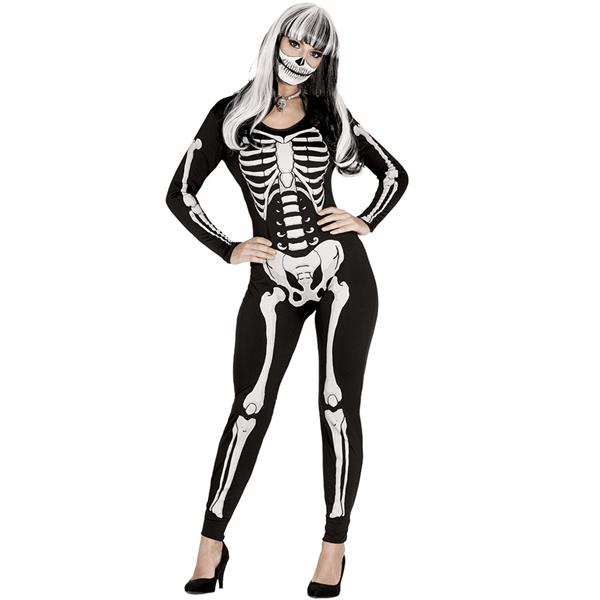 Fato Maillot Esqueleto Preto, Adulto