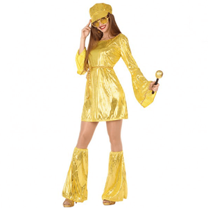 Fato Mulher Disco Dourado