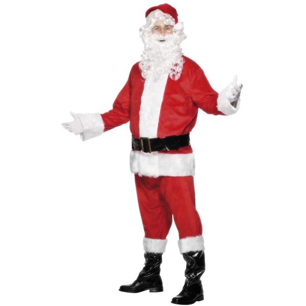 Fato Pai Natal Completo com Barba Deluxe, Adulto