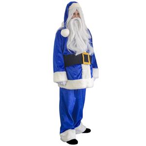 Fato Pai Natal Azul Veludo Deluxe