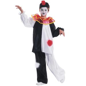 Fato Pierrot Arlequim Clássico Preto e Branco, Criança