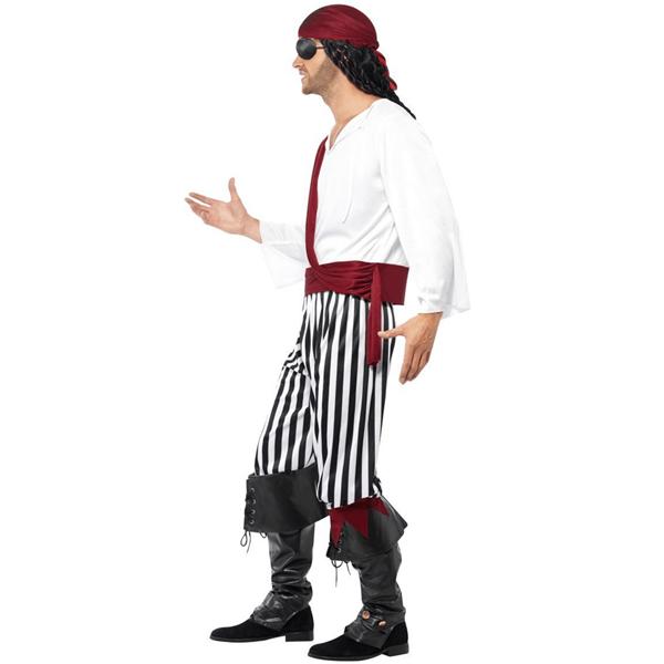 Fato Pirata Salteador Preto e Branco, Adulto