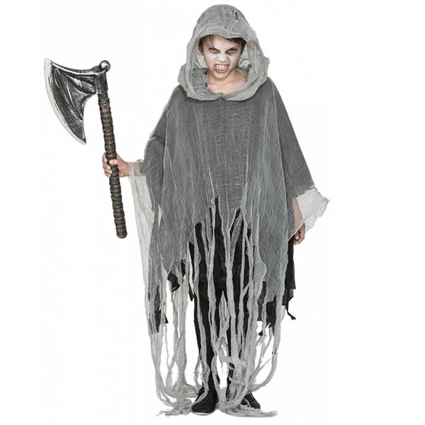 Fato Poncho Zombie Cinzento, Criança