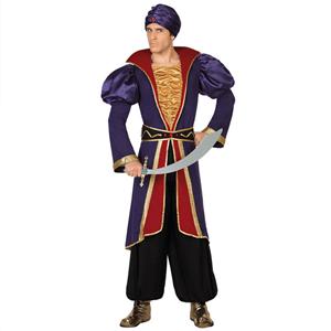 Fato Príncipe Árabe Roxo, Adulto
