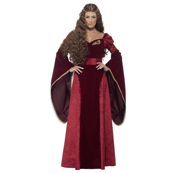 Fato Rainha Medieval Vermelho em Veludo, Adulto