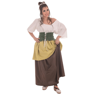 Fato Rapariga Comerciante Medieval, Adulto