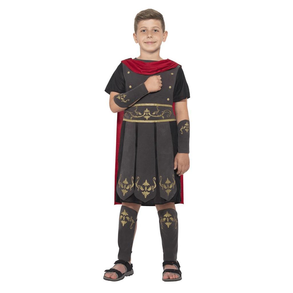 Fato Soldado Romano Preto com Capa, Criança