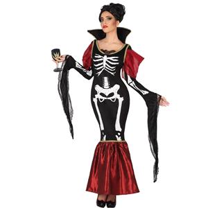 Fato Vampira Esqueleto Elegante