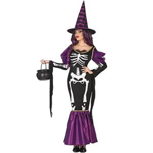 Fato Bruxa Esqueleto Roxa