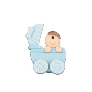 Figura Carrinho Azul com Bebé em Biscuit