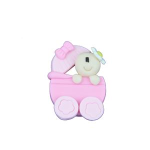 Figura Carrinho Rosa com Bebé em Biscuit