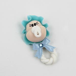 Figura Roca com Bebé de touca azul em Biscuit
