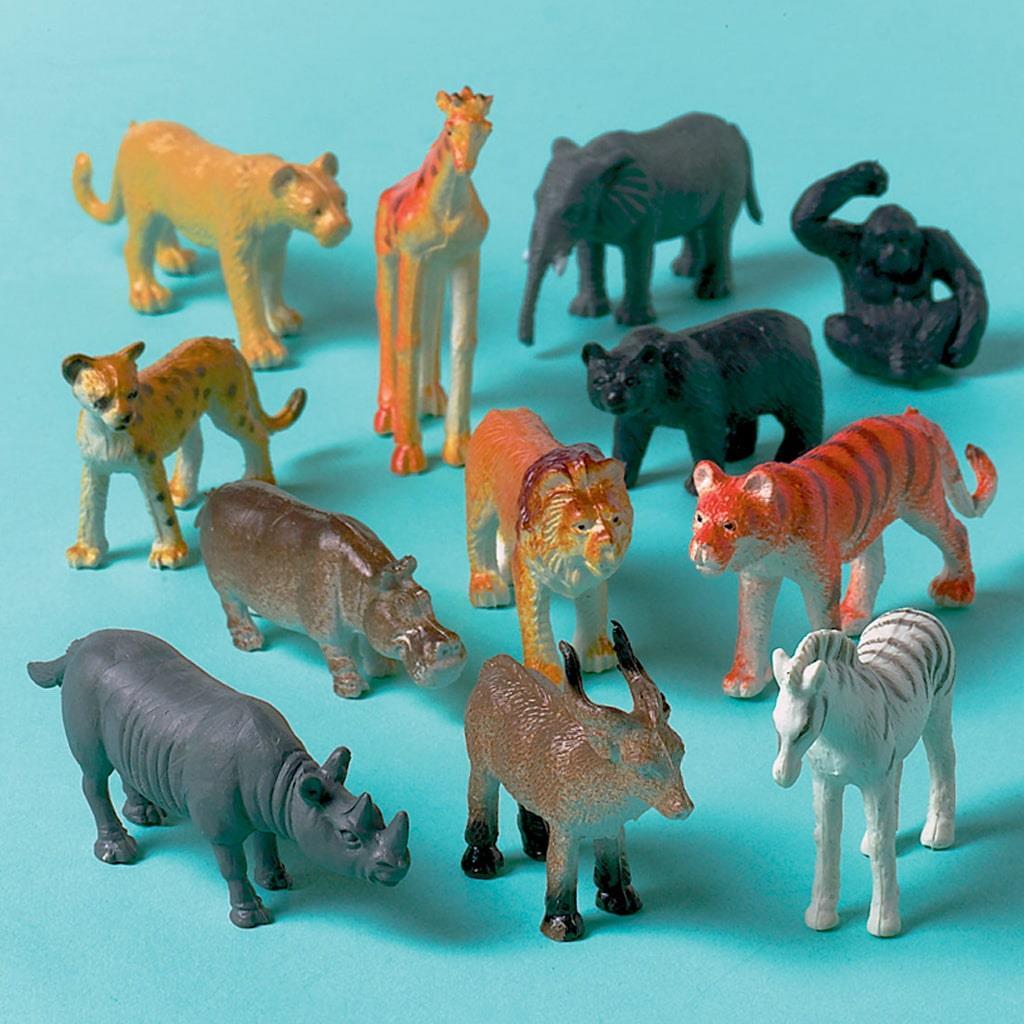 Mini Figuras Decorativas Animais da Selva, 8 unid.
