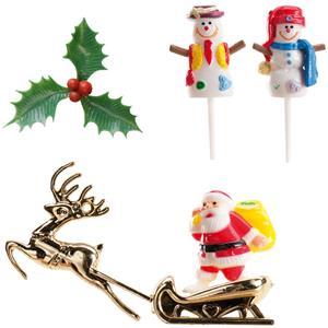 Figuras Decorativas para Bolos de Natal, 6 unid.