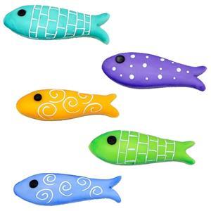 Figuras Sardinhas Coloridas em Biscuit, 5 unid.
