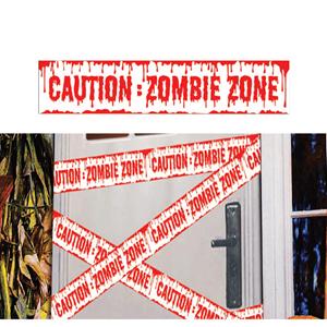 Fita Branca de Perigo Zona Zombie, 600 cm