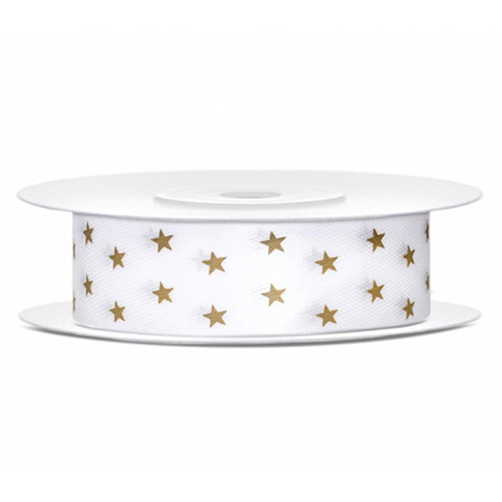 Fita de Cetim Estrelas Douradas, 10 mt