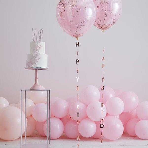 Fitas Happy Birthday Rosa Gold para Balões, 5 unid.
