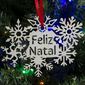 Floco de Neve Feliz Natal em Madeira, 15 cm