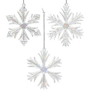 Flocos de Neve Decorativos em Vidro, 3 unid.