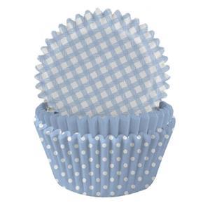 Formas Papel Cupcake Azul Claro Mix, 75 unid.
