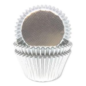 Formas Cupcake Prateado Metalizado, 45 unid.