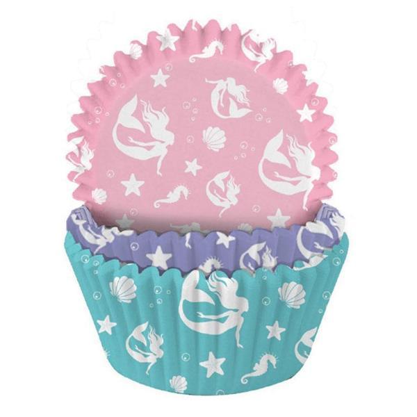 Formas Papel Cupcake Sereia, 75 unid.