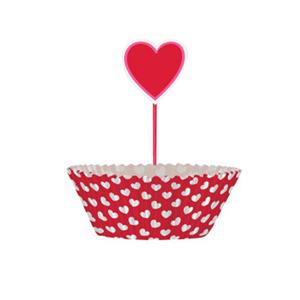 Formas Cupcakes Corações em Papel com Topper, 24 unid.