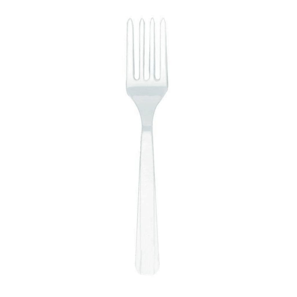 Garfo Plástico Branco, 10 Unid