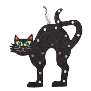 Gato Preto Decorativo com Luz, 30 x 28 Cm