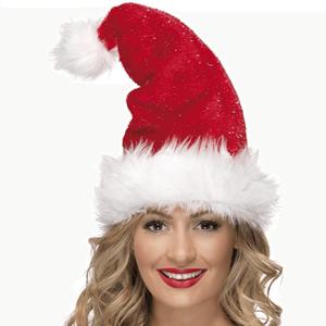 Gorro Pai Natal Vermelho em Veludo com Pêlo