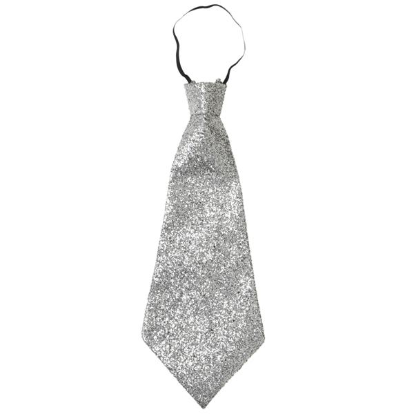 Gravata Prateada Brilhante com Elástico, 40 Cm