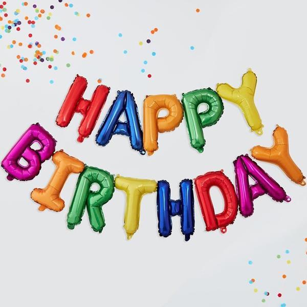 Grinalda Balões Happy Birthday Rainbow